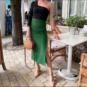 Zara green midi skirt with side slit